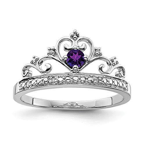 Sonia Jewels - 925 Sterling Silver Engagement Ring with Simulated Amethyst and Purple Birthstone (.02 Carat) (2 mm)