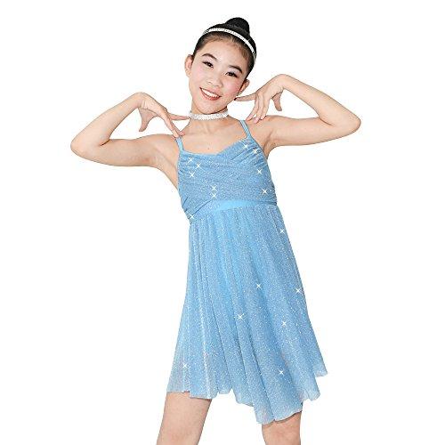 MiDee Mädchen Glitzer Knielänge Kleid Lyrical Latin Dance Kostüm (Himmelblau, IC)