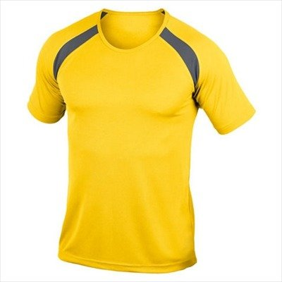 Hanes - Men's Tagless Crew Neck T Contrast Sports L,Sunflower Yellow