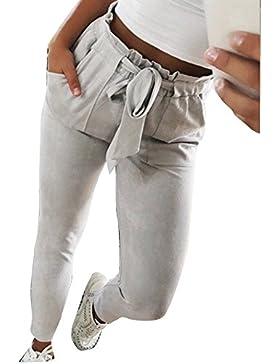 Ushero Mujer Pantalones Largos Moda Elegantes Delgado de Rayas con Cinturón Bolsillos Pitillo Deportivo Pantalón...