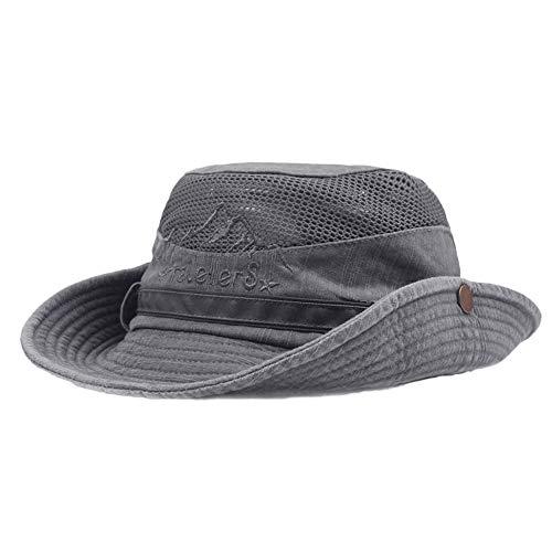 Zottom Herren Baumwolle Stickerei Visier Mesh Bucket Hats Fischerhut Outdoor Kletterkabine (Baumwolle Mesh Bucket Hat)