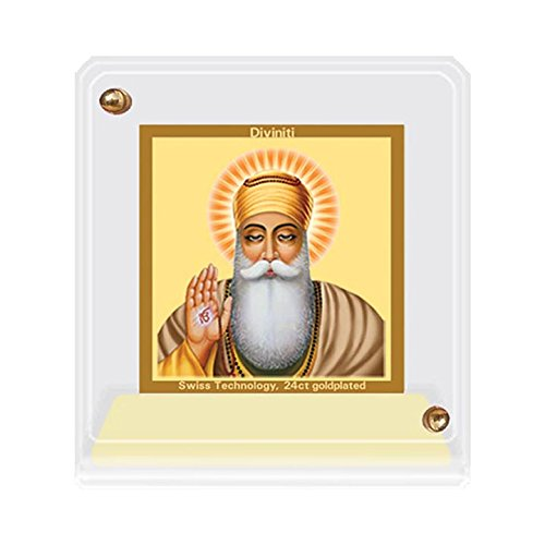 Diviniti Acrylic Car Frame Gold Plated Normal Foil Guru Nanak (ACF 1B)