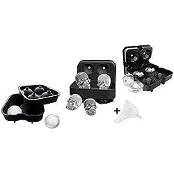Diseño en 3D, sin BPA, molde de silicona para repostería de chocolate y dulces, para hacer cubitos de hielo para whisky, cócteles, bebidas y fiestas Skull + Ball + Diamond