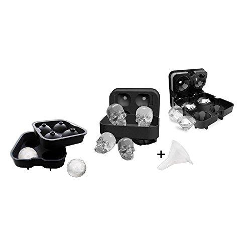 3 Stück 3D Eiswürfelform + Trichter, Eiswürfelbehälter Würfel Eiswürfel Form Silikon, Ohne BPA, Eiswürfelbereiter für Kinder Pudding Milch Saft Erwachsene Bier Cocktails Whisky-Ball + Diamant + Schädel