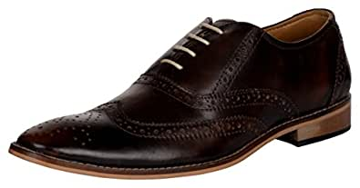 E.IFFE Men's Brown Leather Brogue Shoes - 10 UK