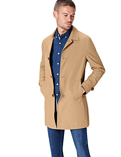 FIND Mantel Herren Mackintosh mit schmalem Revers, Beige (Camel), Medium