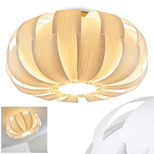 Lámpara de techo Zobus redonda de madera/material sintético blanco - Salón - Pasillo - Dormitorio