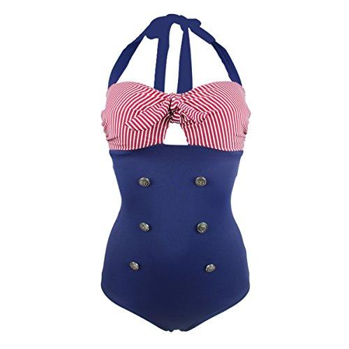 cec84bb62a Gigileer Vintage Damen Badeanzug Bademode one Piece Neckholder 50's Style