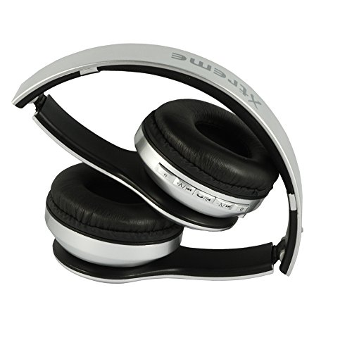Xtreme Zurigo Cuffia Bluetooth con Radio FM, Microfono e Comandi, Ingresso Micro SD, Argento