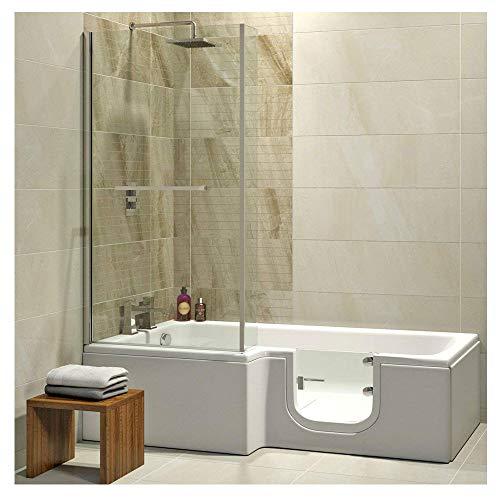 Badewanne mit Tür, Seniorenbadewanne 170×85/70x53cm mit Duschkabine,Wannenschürze und Ablauf/Sifon, Ausführung LINKS