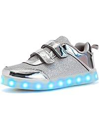 WAWEN Kinder LED leuchten schuhe High Top USB Lade Casual turnschuhe Junge mädchen kind Emitting Klett schuhe Halloween Weihnachten Blau 34 RLJkB6