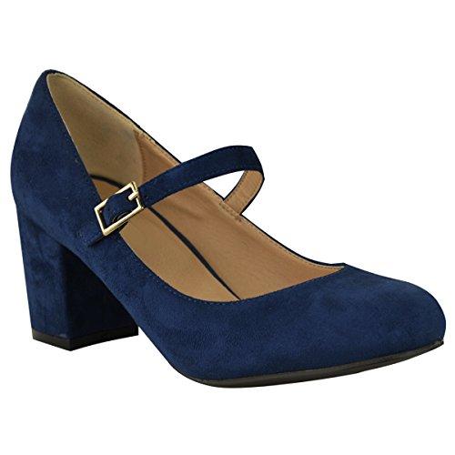 Fashion Thirsty Heelberry - Damen Schuhe im Mary-Jane-Stil - mittelhoher Blockabsatz - Dunkelblaues Wildlederimitat - EUR 40