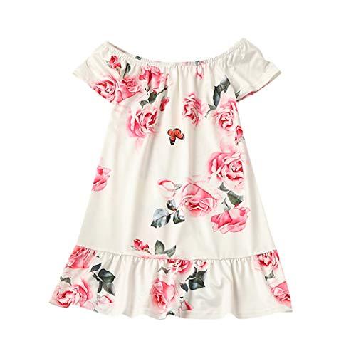 squarex Summer Mommy & Me Kind Oansatz Rock Ärmelloses Kleid Rüschen Blumendruck Rock Familie Kleidung Kleid Eltern Kind tragen (Ideen Kinder Outfit)