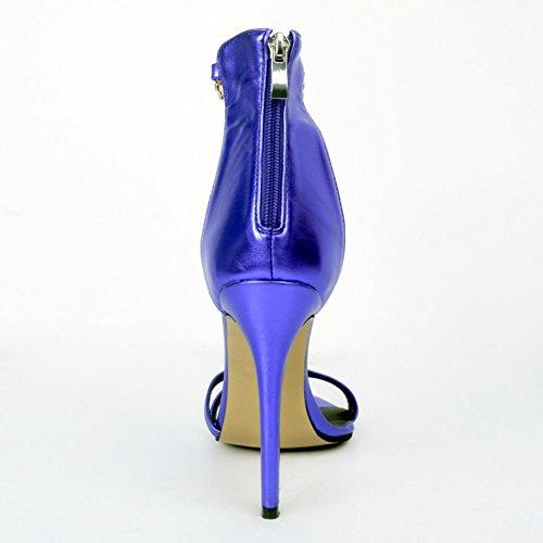 Kolnoo Femmes Handmade 100mm haut talon ouvert-toe Rhinestone bijoux fête sandales chaussures blue
