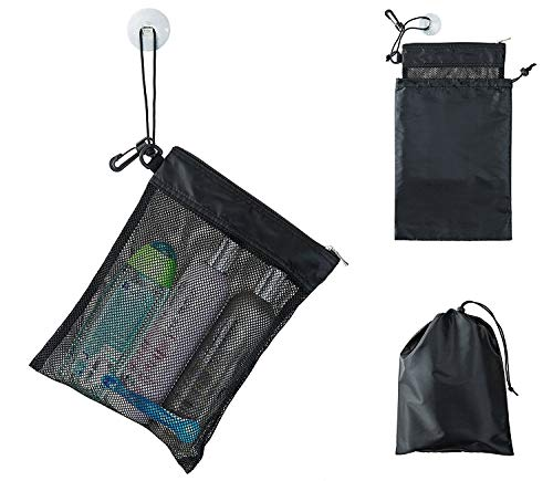 c7f9fb7d750e Shower Bag Tote Mesh Caddy Toiletry Organizer 12ΓÇØL x 9ΓÇØW Compact and  Lightweight With Suction Cup Cord for Hanging Zipper and Drawstring ...