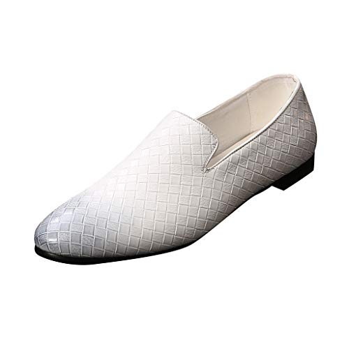 KItipeng Chaussures en Cuir Homme,Pas Cher Chaussures De Ville Derby Mariage Dressing Oxford Business Cuir Vernis,Casual Bateau Sneaker Bride Cheville Durable Respirant Mocassins,Blanc, Rouge,No
