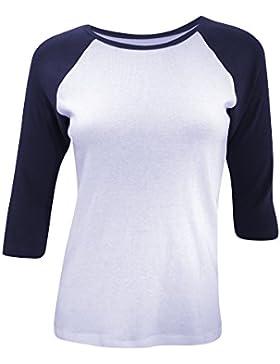 Bella Canvas- Camiseta de mangas 3/4 para chica/mujer