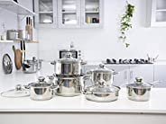 Royalford Stainless Steel Cookware Set, Silver, 12 Pieces, Silver,Cookware Set, Deluxe Quality Stainless Steel
