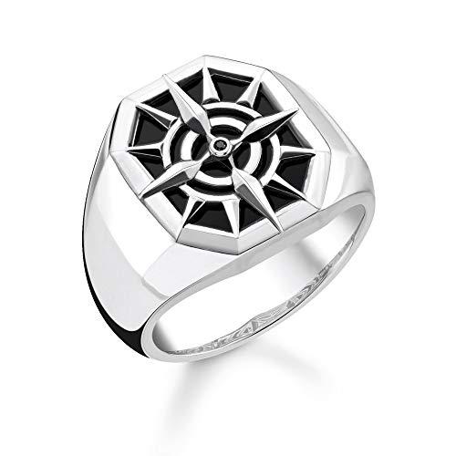 Thomas Sabo Unisex-Ring Kompass schwarz 925 Sterlingsilber schwarz TR2274-641-11-64