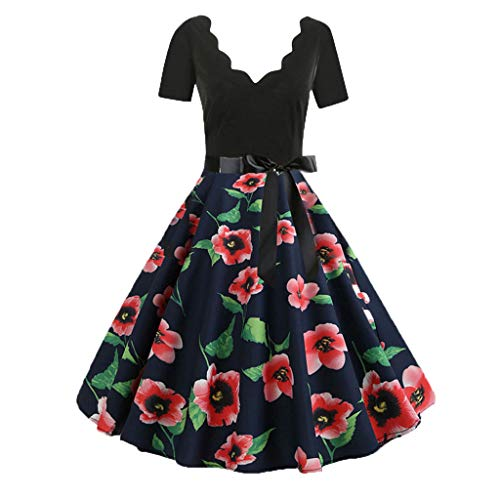 JMETRIC Damen Freizeitmode Gürtel Kleid Kurzarm V-Ausschnitt Knielock mit Blumendruck(Rot,S)