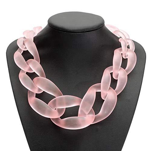 Gamloious Arbeiten Sie Dame Jewel Acryl Kragen Chunky Hals Statement Halskette Anhänger PINK (Halskette Jewel Chunky)
