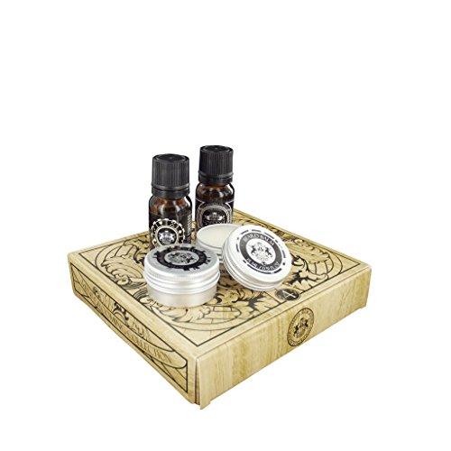 Dear Barber Men's Mini Grooming Kit Collection, Beard Balm 30ml, Beard Oil 30ml, Moustache Wax 25ml & Mens Fragrance 30ml -