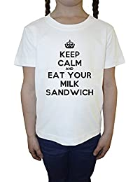 Keep Calm And Eat Your Milk Sandwich Blanco Algodón Niña Niños Camiseta Manga Corta Cuello Redondo Mangas White Girls Kids T-shirt