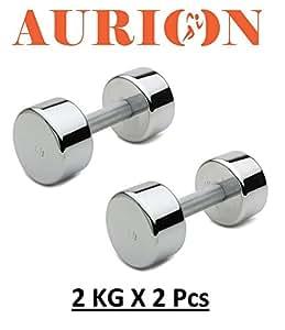 Aurion T2 Steel Dumbell Set, 4Kg (Black)