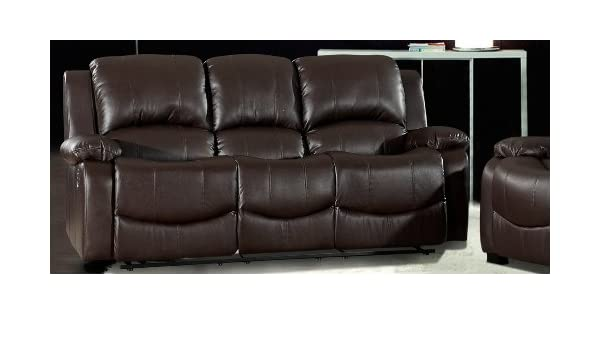 Astounding Havana 3 Seater Brown Recliner Leather Sofa Amazon Co Uk Machost Co Dining Chair Design Ideas Machostcouk