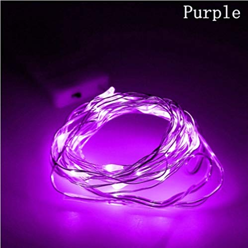 CR2032 Button Battery 2M Silver/copper Wire Fairy Garland Purple String Lights LED Christmas Wedding Home Party Decoration Night Light (Silver Christmas Garland)