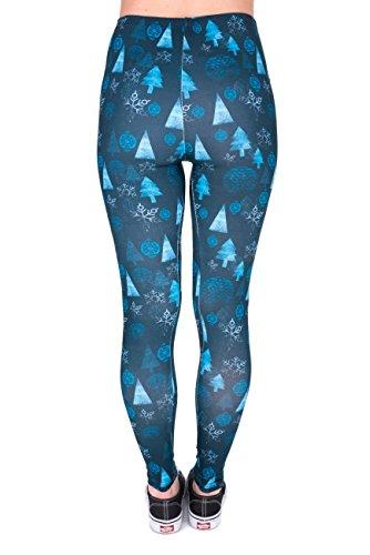 Kukubird Gedruckte Muster Frauen Yoga Leggings Gym Fitness Running Pilates Strumpfhose Skinny Pants 8 bis 12 Stretchable Winter Trees