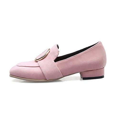 VogueZone009 Donna Punta Quedrata Tirare Pelle di Mucca Puro Tacco Basso Ballet-Flats Rosa