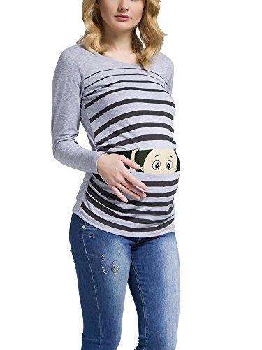 Peek a Boo - Lustiges witziges süßes Umstandsshirt mit Guck-Guck Motiv für die Schwangerschaft / Umstandsmode / Schwangerschaftsshirt, Langarm (Large, Grau)