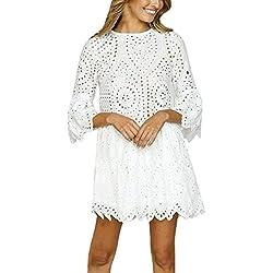 Vestidos Largos Verano, Zolimx Mujeres Flores de Encaje de Manga Corta Cuello Redondo Vestido de Fiesta Vintage Vestido de Encaje Faldas Largas Mujer Verano 2018 (Medium, Blanco)
