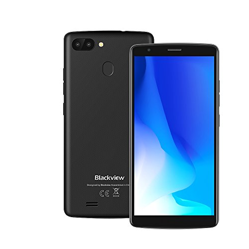Blackview A20 Pro Smartphone Portable Débloqué, Scanner d'empreintes Digitales, Double Caméras Arrière, 5.5 Pouce HD MTK6739 Quad Core Android 8.1, 2Go RAM 16Go ROM, 3000mAh (Noir)