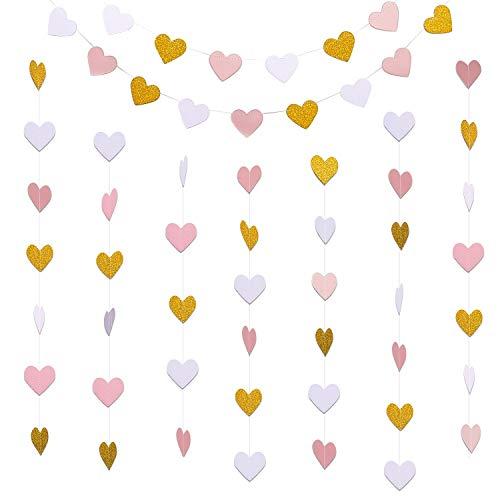 (Hestya 4 Stück 10 Fuß Papier Herz Girlanden Herz Girlande Banner Girlande für Valentinstag Hochzeit Dekoration, Glitter Gold, Weiß und Rosa)