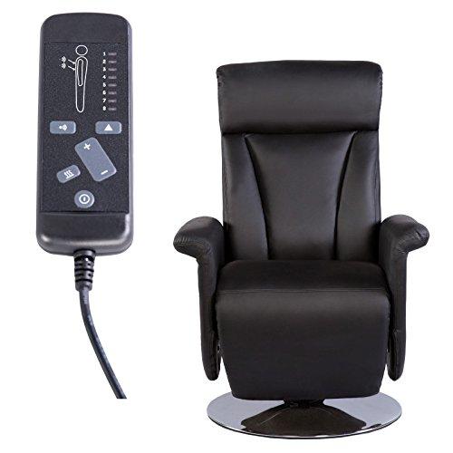 Fernsehsessel mit Massage, Liege und Heizfunktion in Kunstleder schwarz - elektrischer TV Relaxsessel mit Fernbedienung