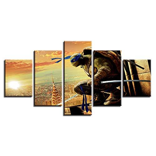SHANYUR Bilder Vlies Leinwandbild Kunstdruck modern Wandbilder Wanddekoration Design Wand Bild 5 Teilig Teenage Mutant Ninja Turtle 25/20/15x10(cm) with Frames