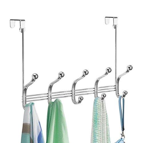 mDesign Hakenleiste - 10 Garderobenhaken für die Tür in Flur und Bad - Türgarderobe für Mäntel, Jacken, Bademäntel, Handtücher - Farbe: Chromfarben