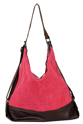 Auspicious beginning Multifunktions-Retro-Mode hohe Qualität Niet Verstärkung Freizeit lila Handtasche Rot