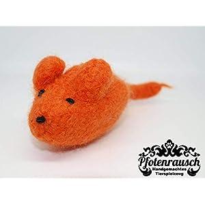 Filzmaus orange mit Baldrian – für Katzen