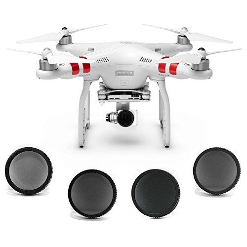 SANDMARC Aerial Filter für DJI Phantom 3 Standard - Polarisiert, ND4, ND8 und ND16 Filter - 4 Pack (Phantom 3 Standard)