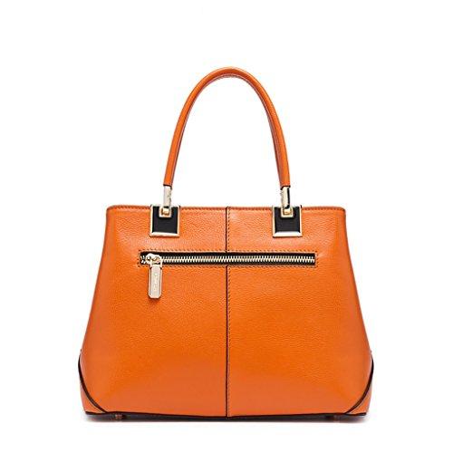Mena UK Borsa della borsa della spalla del sacchetto di Tote della borsa della pelle dell'annata delle donne ( Colore : Off white , dimensioni : 26cm*20cm*12cm ) Arancia
