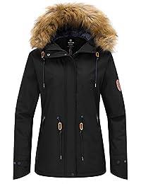 Wantdo Chaqueta de Esquí para Mujer Anorak Montaña Contraviento con Forro Polar