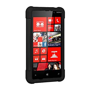Amzer Double Layer Hybrid Case Cover with Kickstand for Nokia Lumia 820 - Black/Black