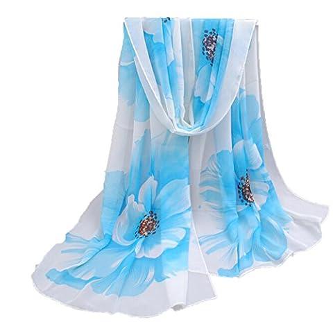 Miyaia Bunter Blumen-Motiv Schal Sommer-Accessoire - Das ideale Geschenk für Frauen (Pink and purple) (blau)