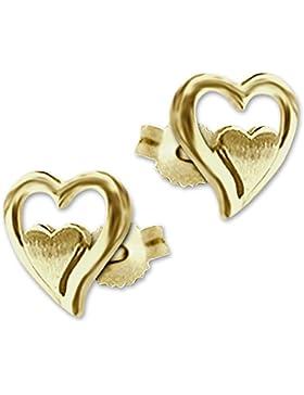 CLEVER SCHMUCK Goldene Ohrstecker Herz mit doppelter Optik matt und glänzend kombiniert 333 GOLD 8 KARAT im Etui