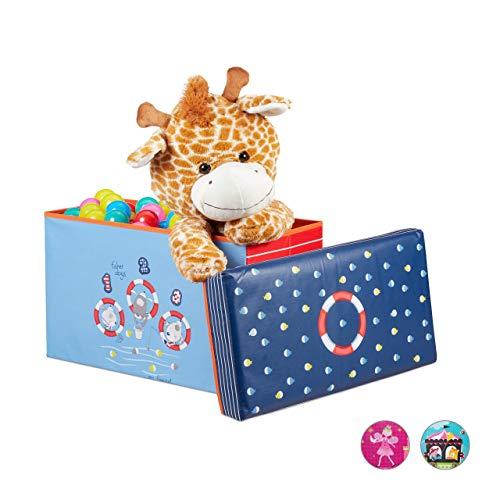 Relaxdays Sitzbox Kinder, Faltbare Aufbewahrungsbox mit Stauraum, Deckel, Motiv Meer, Jungen & Mädchen, 50 Liter, blau, H x B x T: ca. 36 x 60,5 x 30,5 cm