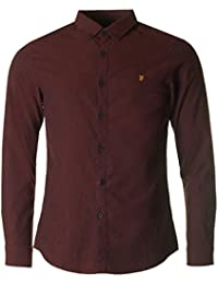 Farah Steen Long Sleeve Oxford Shirt in Red Brick