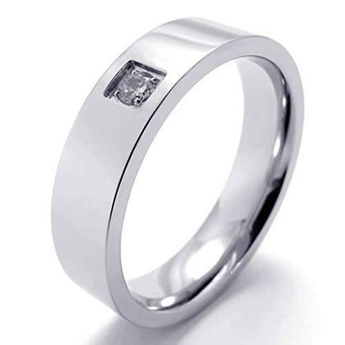 Beydodo Edelstahl Ring für Herren Rund Zirkonia Silber Ringe für Ihn Ringgröße62 (19.7)